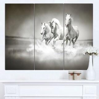 Designart 'Horses Running Through Water' Oversized Animal Wall Art