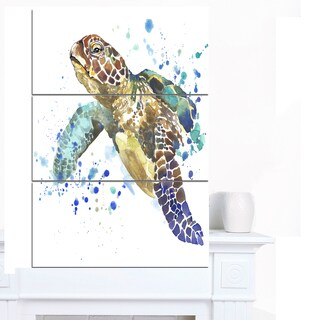 Designart 'Blue Sea Turtle Illustration' Animal Artwork on Canvas - Blue