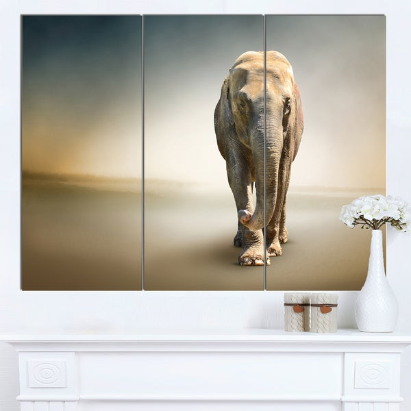 Designart 'Smart Elephant Walking' Large Animal Art on Canvas - brown