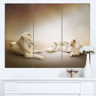 Designart 'White Lion Family' Large Animal Art on Canvas - White