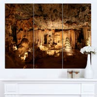 Designart 'Dark Cango Caves South Africa' Extra Large African Landscape Canvas Art