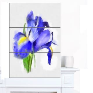 Designart 'Blue Iris Illustration Watercolor' Extra Large Floral Canvas Art