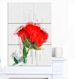 Designart 'Red Rose Hand-drawn Painting' Extra Large Floral Canvas Art