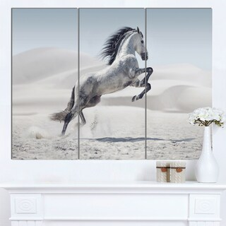 Designart 'Galloping White Horse' Large Animal Art on Canvas