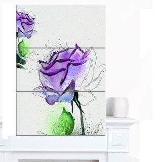 Designart 'Blue Rose Flowers with Green Leaves' Extra Large Floral Canvas Art