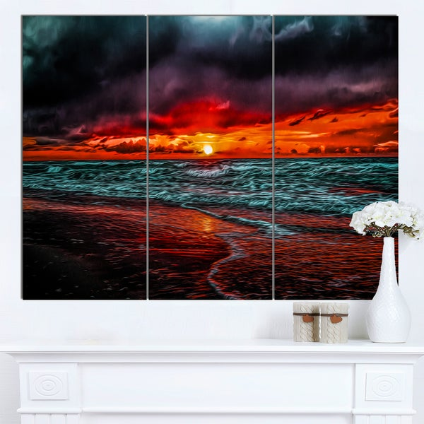 Designart 'Red Sunset over Blue Waters' Seashore Canvas Wall Artwork - Red