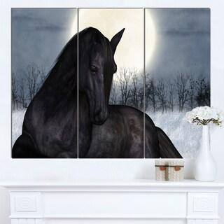 Designart 'Black Horse in Moonlight' Extra Large Animal Artwork