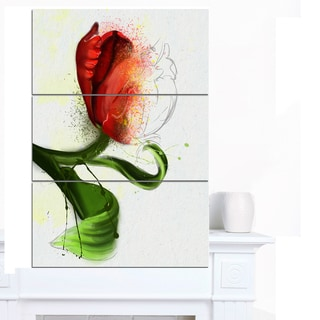 Designart 'Big Red Flower with Green Leaves' Extra Large Floral Canvas Art