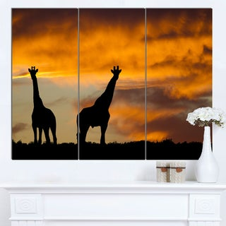 Designart 'African Wildlife Silhouette' African Canvas Artwork
