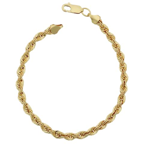 Fremada Men's 10k Yellow Gold 4.75-mm Semi Solid Rope Chain Bracelet (8.5 inches)
