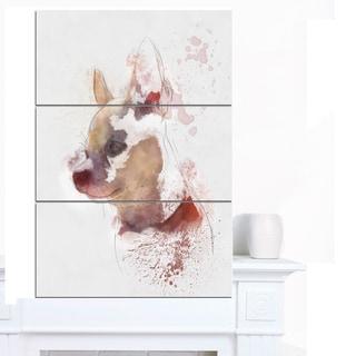 Designart 'Cute Puppy Portrait Watercolor' Oversized Animal Wall Art