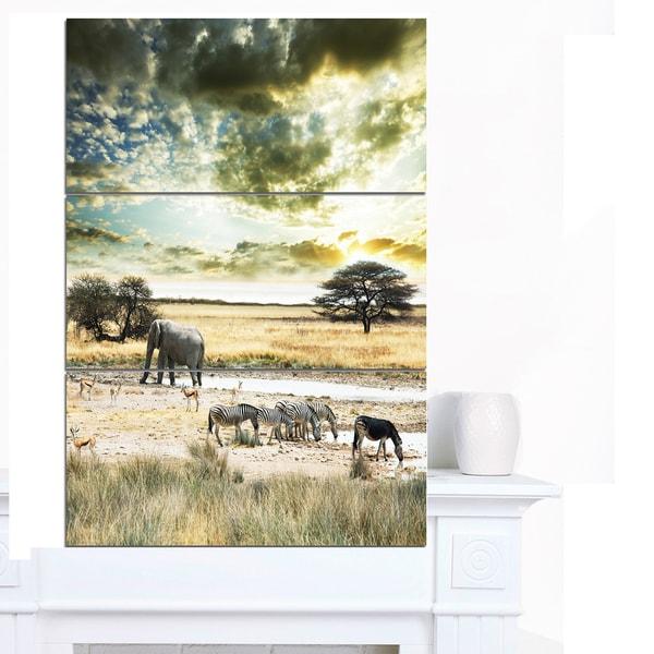 Designart 'Wild African Zebras and Elephant' African Canvas Artwork - Blue/Green