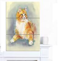 Designart 'Hand Drawn Watercolor Cat' Animal Canvas Wall Art
