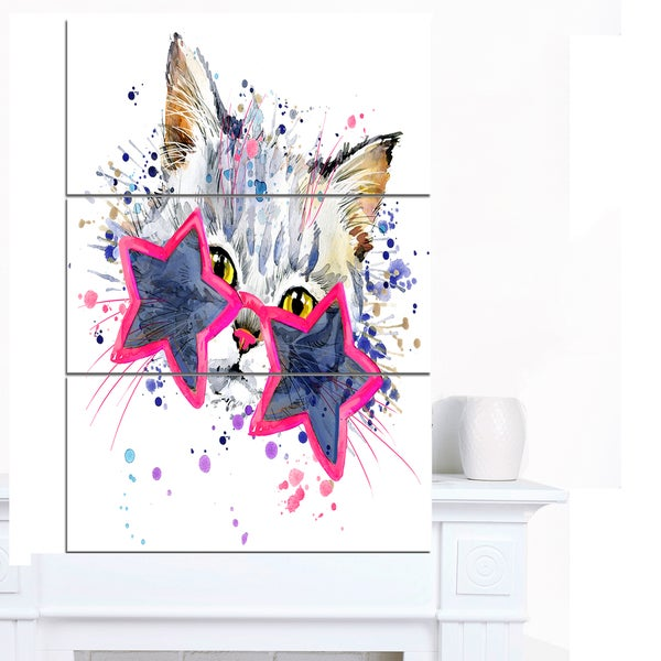 Designart 'Cute Kitten with Blue Stars' Animal Canvas Wall Art