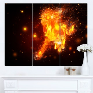 Designart 'Abstract Running Fire Horse' Extra Large Animal Artwork