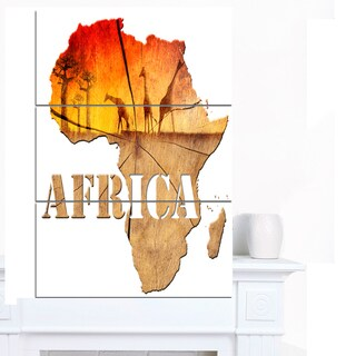 Designart 'Africa Map Wooden Illustration' Canvas Artwork