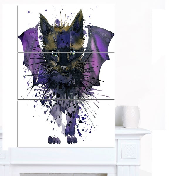Designart 'Black Cat with Blue Wings' Animal Canvas Wall Art