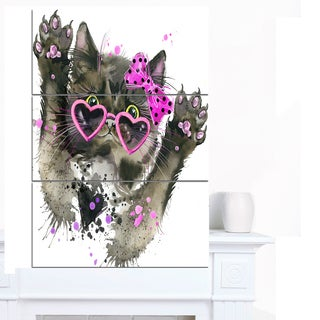 Designart 'Funny Black Cat Illustration' Animal Canvas Wall Art