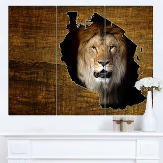 Designart 'Tanzania Wildlife Map Design' Canvas Artwork