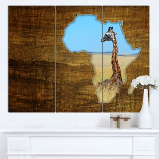 Designart 'Africa Wildlife Map Design' Canvas Artwork