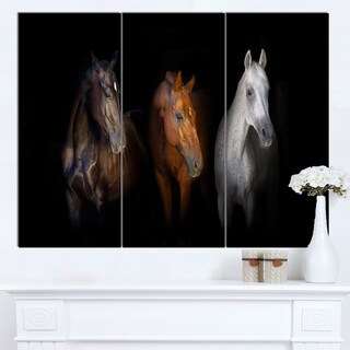 Designart 'Black Red and White Horses' Large Animal Wall Artwork