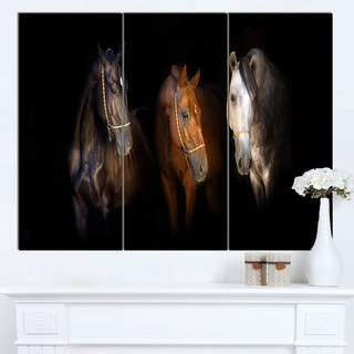 Designart 'Three Horses with Golden Bridle' Large Animal Wall Artwork