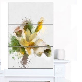 Designart 'Beautiful Flower with Color Splashes' Extra Large Floral Canvas Art