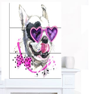 Designart 'Funny Dog with Heart Glasses' Animal Canvas Wall Art