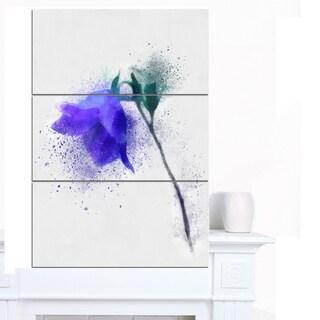 Designart 'Blue Flower Stem with Color Splashes' Extra Large Floral Canvas Art