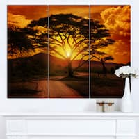 Designart 'African Sunset with Lonely Tree' Extra Large African Landscape Canvas Art
