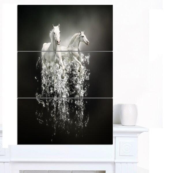 Designart 'Fantasy White Horses on Black' Extra Large Animal Artwork