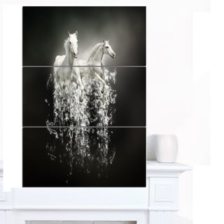 Designart 'Fantasy White Horses on Black' Extra Large Animal Artwork