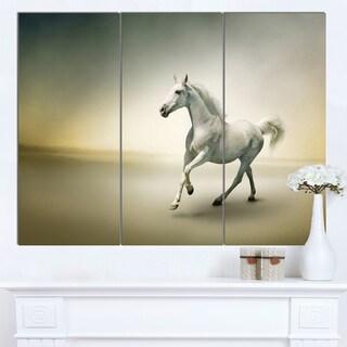 Designart 'White Horse in Motion' Extra Large Animal Artwork