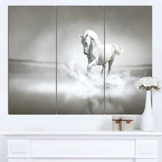 Designart 'White Horse Running in Water' Extra Large Animal Artwork