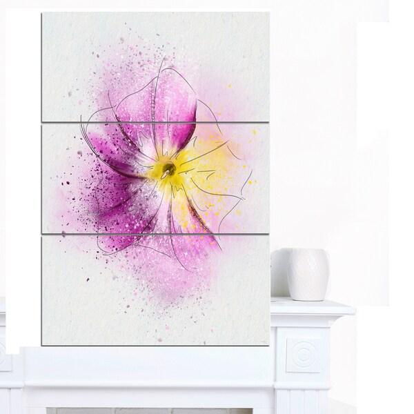 Designart 'Purple Flower Sketch with Splashes' Extra Large Floral Canvas Art - Purple