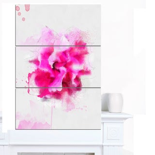 Designart 'Beautiful Red Flower with Color Splashes' Extra Large Floral Canvas Art
