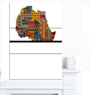Designart 'Africa Map with Ethnic Textures' Canvas Artwork