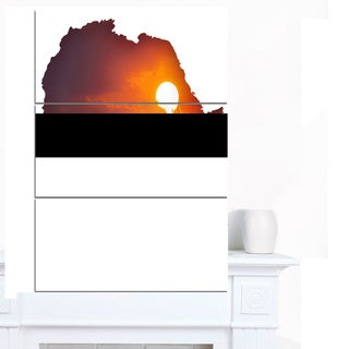 Designart 'Africa Map with Lion At Sunset' Canvas Artwork