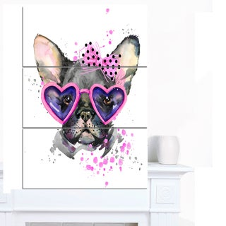 Designart 'Cute Dog with Pink Glasses' Animal Canvas Wall Art