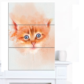 Designart 'Cute Brown Cat Watercolor' Large Animal Wall Artwork