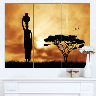 Designart 'African Woman and Lonely Tree' Extra Large African Landscape Canvas Art