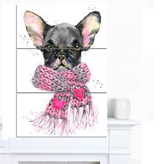 Designart 'Cute Puppy Dog with Pink Shawl' Animal Canvas Wall Art