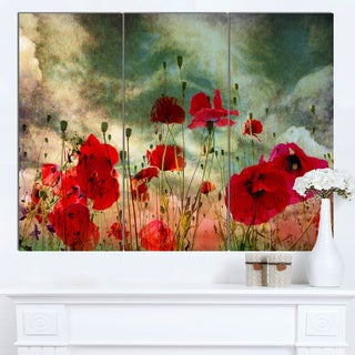Designart 'Wild Red Poppy Flowers in Sky' Modern Floral Artwork on Canvas