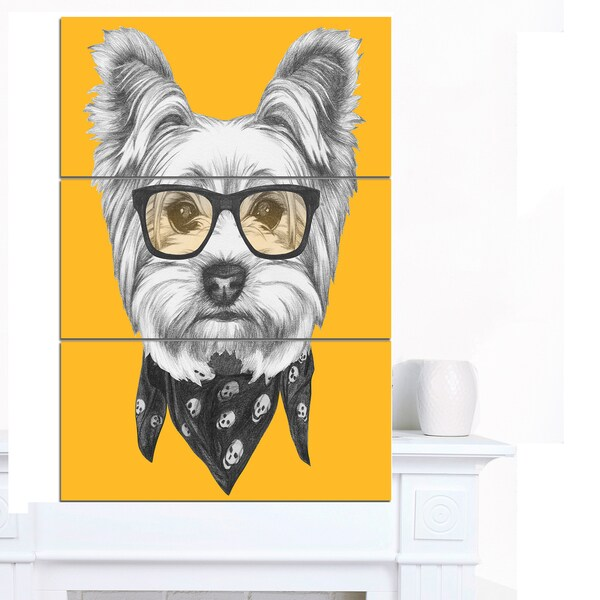 Designart 'Funny Terrier Dog with Glasses' Large Animal Wall Artwork