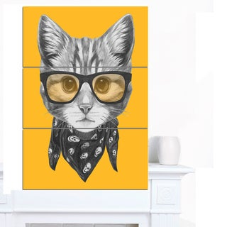 Designart 'Funny Cat with Glasses and Scarf' Large Animal Wall Artwork