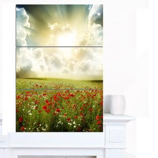 Designart 'Dramatic Sky over Poppy Field' Extra Large Landscape Canvas Art