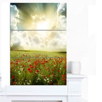 Designart 'Dramatic Sky over Poppy Field' Extra Large Landscape Canvas Art