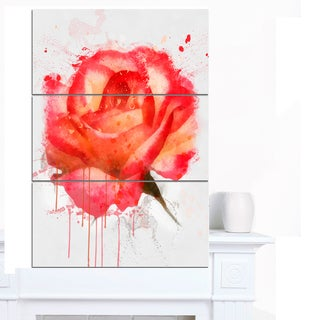 Designart 'Red Rose Hand-drawn with Splashes' Extra Large Floral Canvas Art