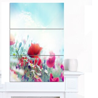 Designart 'Red Poppies on Blue Background' Modern Floral Artwork on Canvas
