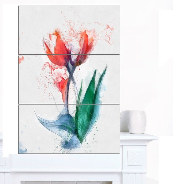 Designart 'Red Hand-drawn Tulips Sketch' Extra Large Floral Canvas Art - Red